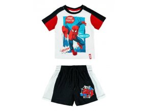 Komplet tričko a kraťasy SPIDERMAN qe 1273 bílo - tm. modrý