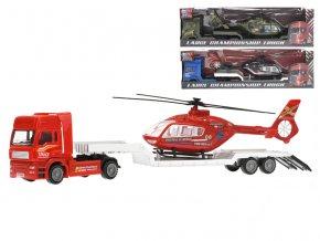 Auto nákladní kov 30cm volný chod s vrtulníkem 18cm v krabičce