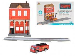 Hasičská stanice skládací s autem hasiči 7cm kov na volný chod v krabičce