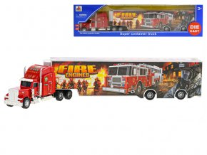 Kamion hasiči 35 cm kov volný chod v krabičce