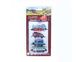 Mini kovová lokomotiva se 3 vagónky