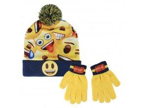 Kulich a rukavice EMOJI Cer 2559 tm. modro - žlutý