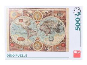 Puzzle Mapa světa z r. 1626 500 dílků