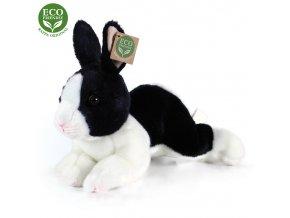 Plyšový králík bílo-černý ležící 23 cm ECO-FRIENDLY