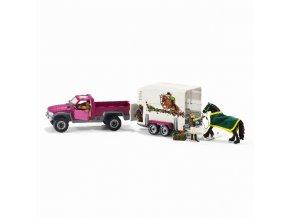 Schleich - Pick-up s přívěsem a koněm