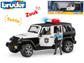 Bruder policie Jeep Wrangler 32cm volný chod na baterie se světlem a zvukem s policistou