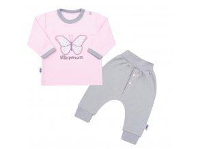 2 - dílná kojenecká bavlněná soupravička New Baby Little Princess růžovo-šedá