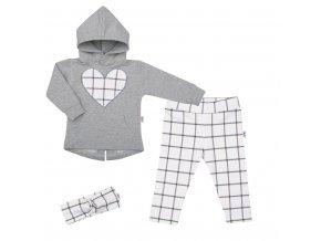 3-dílná holčičí bavlněná souprava New Baby Cool Girls šedo-bílá
