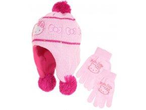 Peru čepice a rukavice HELLO KITTY nh 4015 růžová