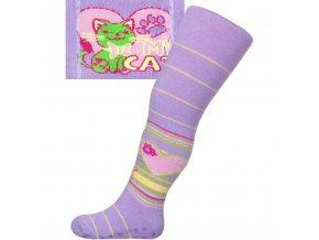 Bavlněné punčocháčky New Baby s ABS fialové my cat