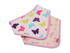 Dětský bryndáček-šátek Akuku 2 ks motýlek-zvířátka