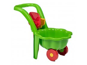 Dětské zahradní kolečko s lopatkou a hráběmi BAYO Sedmikráska zelené