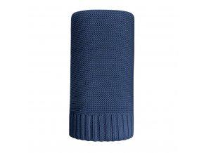 Bambusová pletená deka NEW BABY 100x80 cm tmavě modrá
