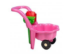 Dětské zahradní kolečko s lopatkou a hráběmi BAYO Sedmikráska růžové