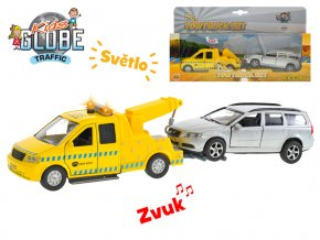 Auto kov 14 cm na zpětný chod na baterie se světlem a zvukem s přívěsem + Volvo V70 13 cm v krabičce