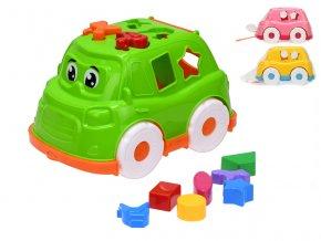 Auto/vkládačka 25,5 cm 2v1 geometrické tvary a zvířátka