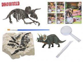 Dinosaurus 12cm a zkamenělina v sádře s dlátem, lupou a štětcem 6druhů v krabičce