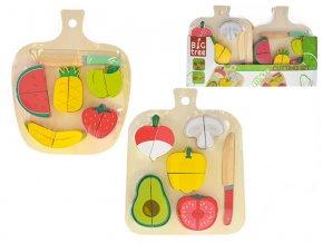Deska dřevěná 22x18 cm s krájecím ovocem/zeleninou 12 částí