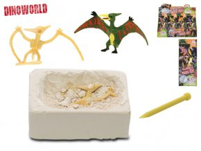Dinosaurus 7 cm a zkamenělina v sádře s dlátem