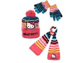 Šála, čepice a rukavice HELLO KITTY hm 4045 malinová
