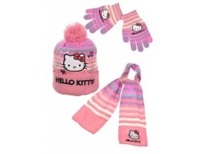 Šála, čepice a rukavice HELLO KITTY hm 4045 růžová