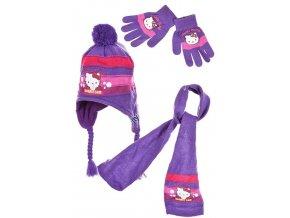 Šála, čepice a rukavice HELLO KITTY nh 4030 fialová