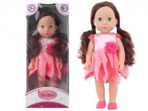 Panenka brunetka v růžových šatech