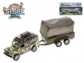 Auto Land Rover Defender Military 14,5 cm kov zpětný chod s přívěsem s plachtou v krabičce