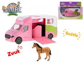 Auto přepravní 20 cm kov na setrvačník růžové na baterie se světlem a zvukem s koněm v krabičce