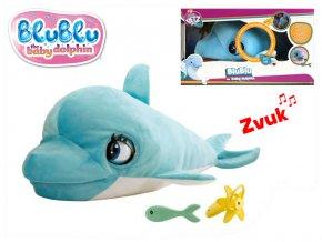 Blu Blu delfín plyšový 54 cm na baterie se zvukem a doplňky 18 m+ v krabičce