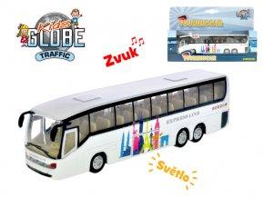 Autobus 19 cm kov zpětný chod na baterie se světlem a zvukem v krabičce