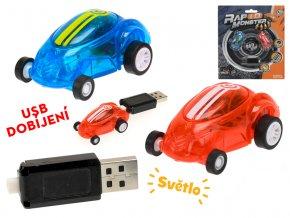 Auto závodní 2 ks 4,5 cm na baterii se světlem s USB dobíjením na kartě