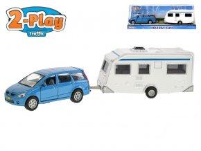 Auto Mitsubishi kov s karavanem 28,5 cm 2-Play na zpětný chod v krabičce