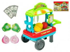 Vozík ovoce/zelenina pojízdný 23x33x20 cm s doplňky v krabičce