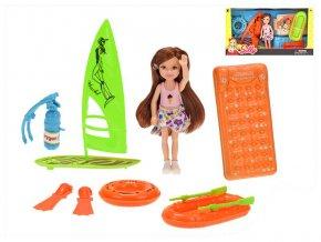 Panenka 14cm plážová s doplňky v krabičce