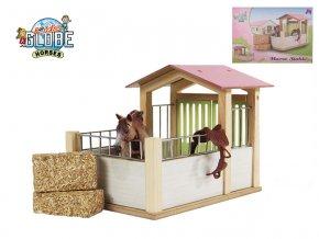 Stáj pro koně dřevěná 20x14x16 cm 1:24 v krabičce