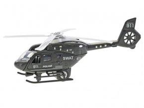 Vrtulník policejní 22 cm kov 2-Play na zpětný chod na baterie se světlem a zvukem v krabičce
