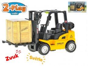 Vysokozdvižný vozík 14 cm kov 2-Play zpětný chod na baterie se světlem a zvukem v krabičce