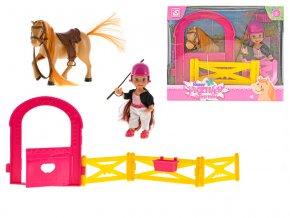 Panenka 11 cm s koněm a ohradou v krabičce
