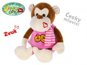 Opica Janica plyšová 25cm v šatech a se šálou na baterie česky mluvící 0m+ v sáčku