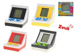 Brick game 9x7x6,5cm na baterie se zvukem 4barvy v krabičce
