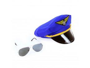 Sada čepice pilot s brýlemi pro dospělé