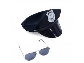 Sada policejní čepice s brýlemi pro dospělé
