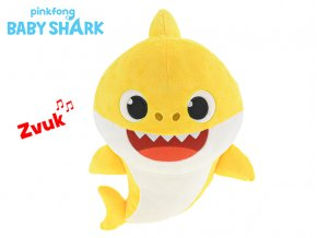 Baby Shark plyšový 28cm žlutý na baterie se zvukem 12m+ v sáčku