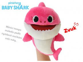 Baby Shark plyšový maňásek 23cm růžový na baterie s volitelnou rychlostí hlasu 12m+ v sáčku