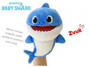 Baby Shark plyšový maňásek 23 cm modrý na baterie s volitelnou rychlostí hlasu