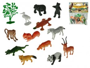 Zvířátka safari 4-8cm + stromek 13 ks v sáčku