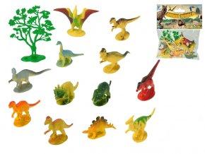 Dinosauři 6-8 cm 12 druhů + stromek 13 ks v sáčku