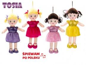 Panenka Tosia hadrová 32 cm na baterie polsky mluvící a zpívající 4 barvy v sáčku