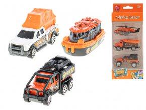 Auta záchranáři 7 cm kov na volný chod 3 ks 2 druhy v krabičce